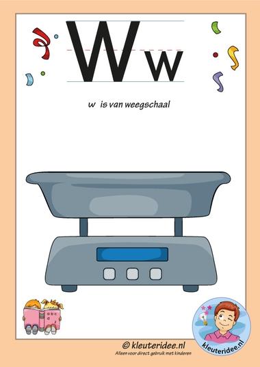 Pakket over de letter w blad 2, letterkaart met een w, kleuteridee, free printable