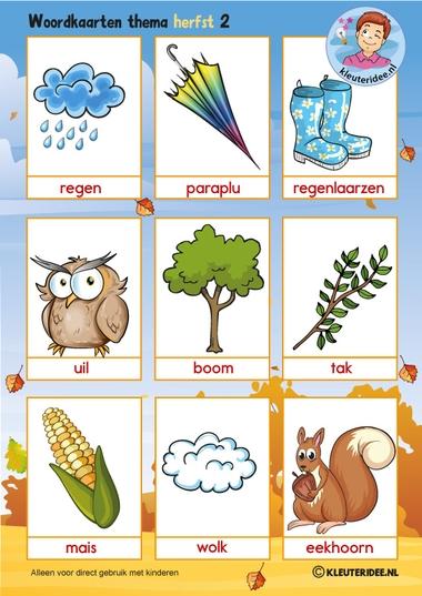 Woordkaarten 2 voor kleuters, thema herfst, juf Petra van kleuteridee, free preschool printable