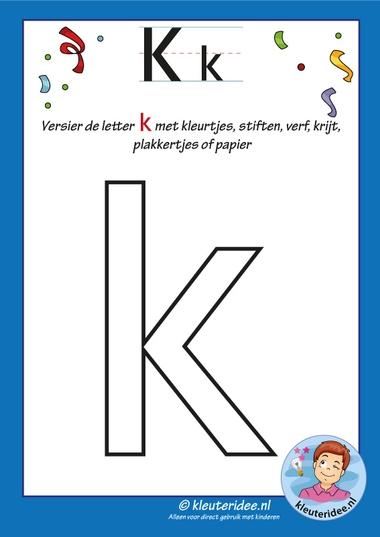 Pakket over de letter k blad 5, versier de k, kleuteridee, free printable