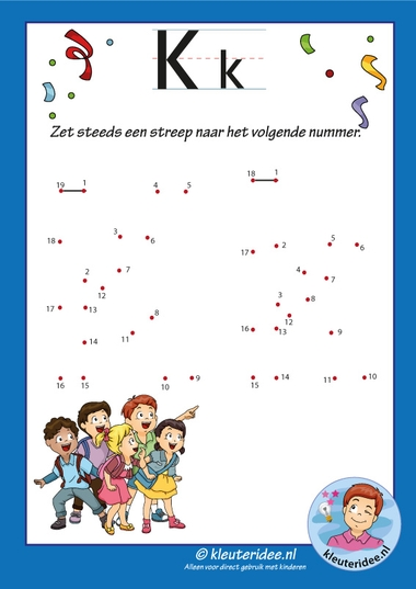 Pakket over de letter k blad 13, verbind de punten, kleuteridee, letter k, dot to dot, free printable.