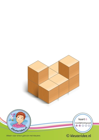 Bouwkaart 6 moeilijkheidsgraad 2 voor kleuters, kleuteridee, Preschool card building blocks with toddlers 6, difficulty 2.