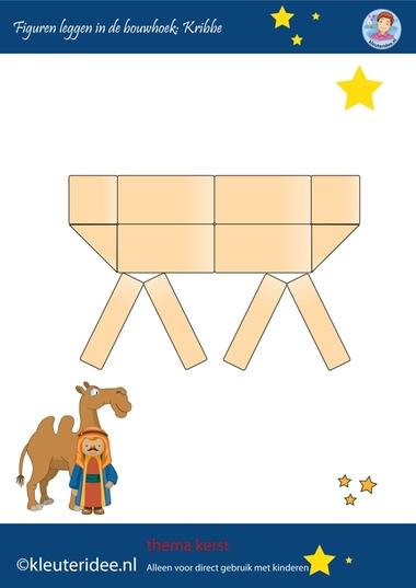 Figuren leggen in de bouwhoek, kerst op kleuteridee.nl, kribbe, make a manger with blocks, free printable.