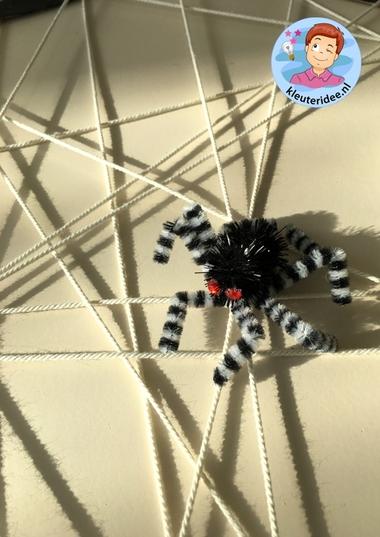 Spinnenweb knutselen, thema herfst, kleuteridee 2