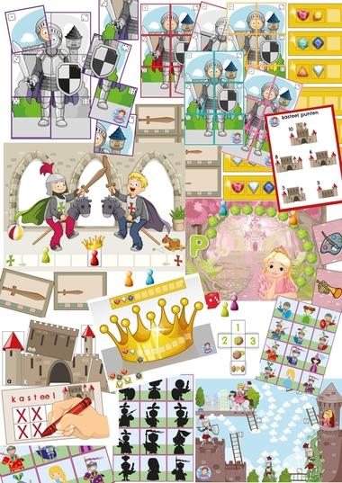 spellen van het spellenpakket ridders en kastelen, kleuteridee.
