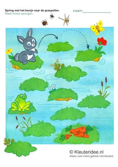 Schrijfpatroon konijn voor kleuters, kleuteridee.nl, free printable.