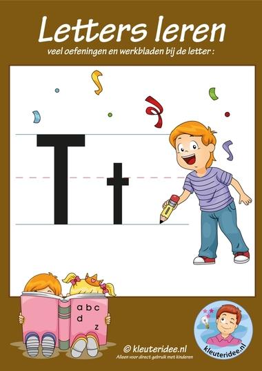 Pakket over de letter t blad 1, voorkant, letters aanbieden aan kleuters, kleuteridee.nl, free printable.
