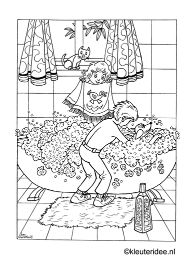 Hond in bad, kleurplaat op kleuteridee, dog in the bath, free printable coloringpage.
