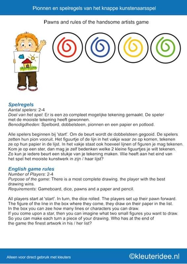 Pionnen en spelregels Het knappe knustenaarsspel voor kleuters, Thema kunst, kleuteridee.nl , the handsome artists game for preschool, free printable.