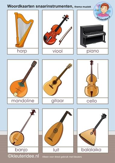 Woordkaarten snaarinstrumenten, kleuteridee.nl, free printable.