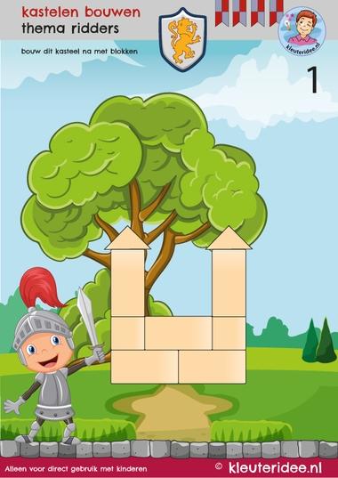 Bouwkaart kastelen 1, thema ridders, kleuteridee, Kindergarten knights theme.