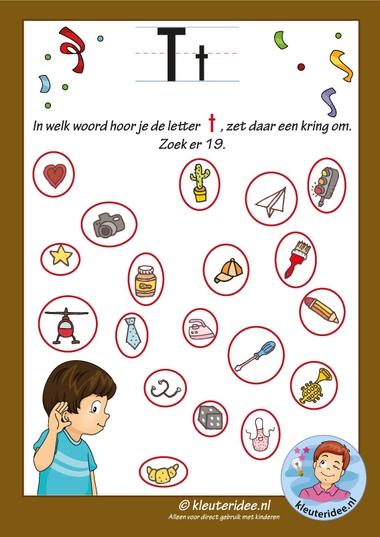 Pakket over de letter t blad 10, Waar hoor je de t vooraan, antwoorden letters aanbieden aan kleuters, kleuteridee, free printable k