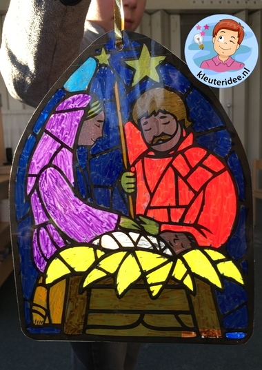 Glas in lood knutsel kerst, stained glass craft nativity kindergarten, kleuteridee 2