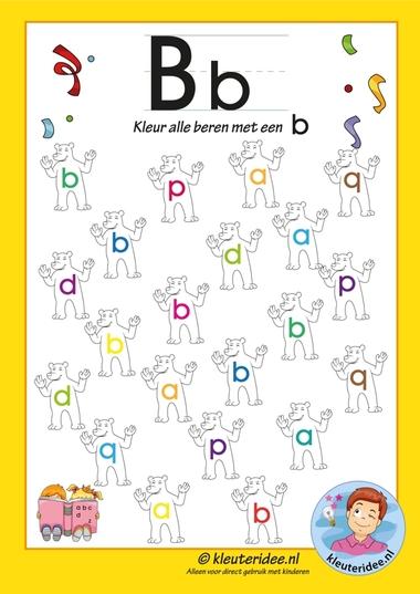 Pakket over de letter b blad 6, kleur alle beren met een b, letters aanbieden aan kleuters, kleuteridee.nl, free printable.