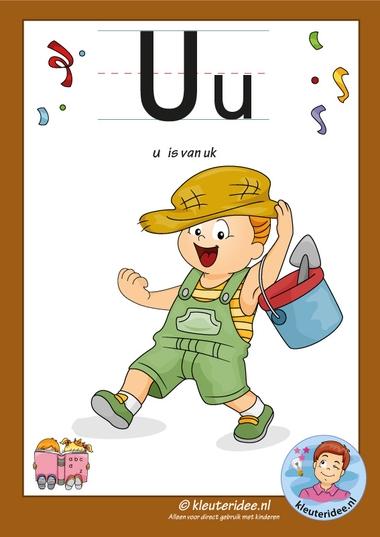 Pakket over de letter u blad 2, letterkaart met een u, kleuteridee, free printable