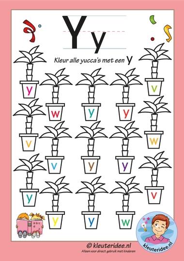 Pakket over de letter y, blad 6, kleur alle yucca's met een y, letters aanbieden aan kleuters, kleuteridee, free printable k