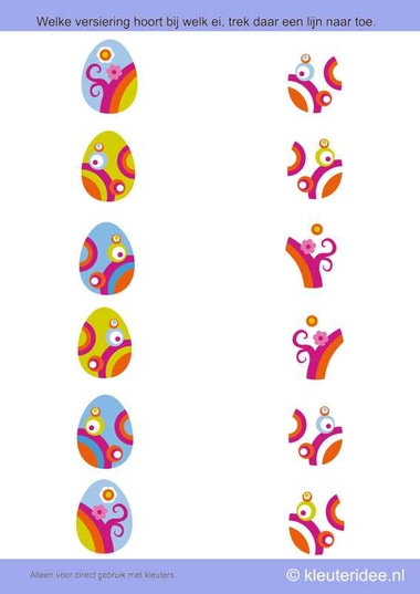 Welke versiering hoort bij welk ei, kleuteridee.nl , thema lente voor kleuters, search the decoration of the eggs, free printable.