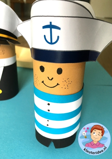 Matroos knutselen met kleuters, thema de haven, kleuteridee, kindergarten sailor craft paper
