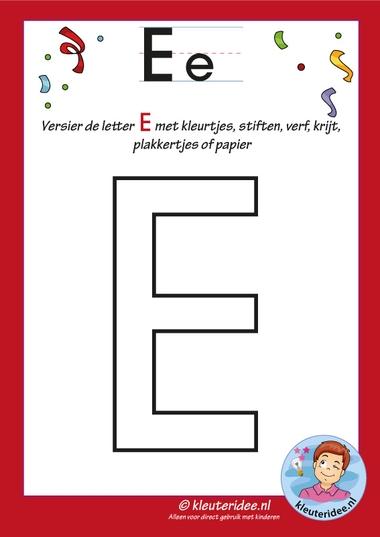 Pakket over de letter e blad 5, versier de letter hoofdletter E, letters aanbieden aan kleuters, kleuteridee, free printable.