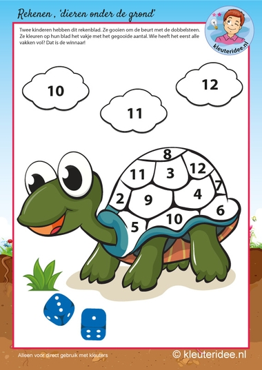 Rekenen met schildpad voor kleuters,kleuteridee, kindergarten turtle maths, free printable.