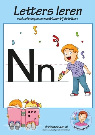 Pakket over de letter n blad 1, voorkant, letters aanbieden aan kleuters, kleuteridee.nl, free printable.
