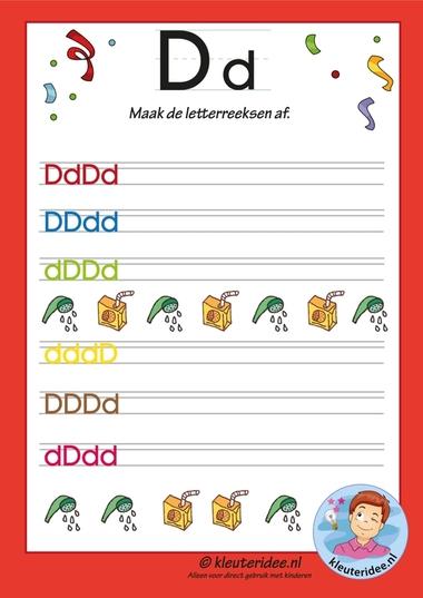 Pakket over de letter d blad 14, maak de letterreeksen af,kleuteridee.nl, free printable.