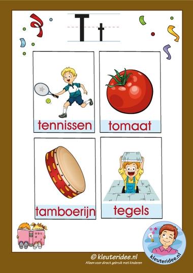 Pakket over de letter t blad 3, woordkaarten met een t, kleuteridee, free printable