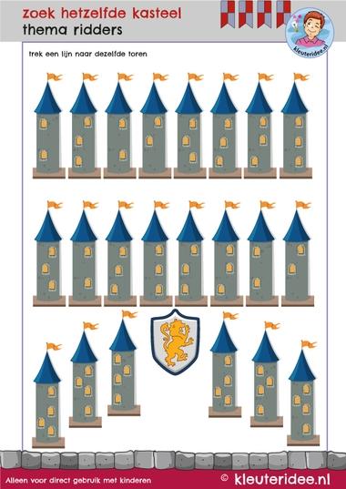 rekenen met kleuters, zoek hetzelfde kasteel, thema ridders, kleuteridee, free printable.