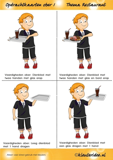 Opdrachtkaarten ober(opleiding) voor kleuters 1, thema restaurant, juf Petra van kleuteridee.nl, Waiter job tickets, Restaurant role play cards 1, free printable.