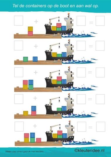 Tel de containers , kleuteridee.nl , rekenen voor kleuters, Count the containers , math for preschool , free printable.