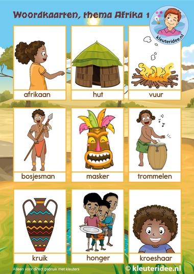 Woordkaarten, thema Afrika, kleuteridee, free printable