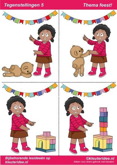 Tegenstellingen deel 5, thema feest voor kleuters, juf Petra van kleuteridee, bij behorende les op de website, preschool opposites, free printable.