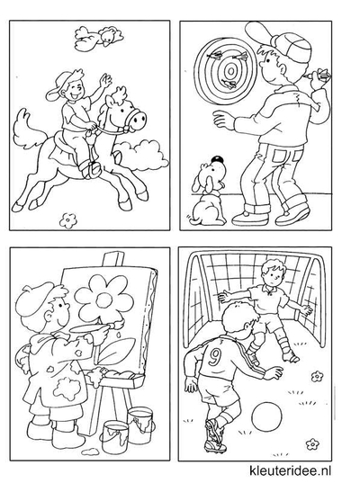 Kleine kleurplaatjes 7 voor jongens, kleuteridee.nl , deze kleurplaatjes maken kleuters echt af ;), free printable.