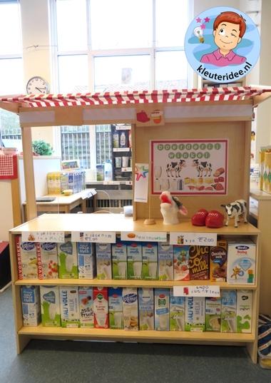 Boerderijwinkel kleuteridee, thema de koe, kindergarten farmshop roleplay 6a.