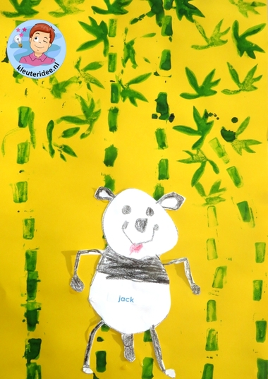 Panda's tekenen en bamboe stempelen, knutselen met kleuters, kleuteridee