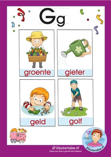 Pakket over de letter g blad 3a, woordkaarten met een g, kleuteridee, free printable.