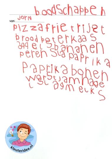 Boodschappenbriefje schrijven met reclamefolder, thema huishouden, kleuteridee, kindergarten housekeeper craft 2