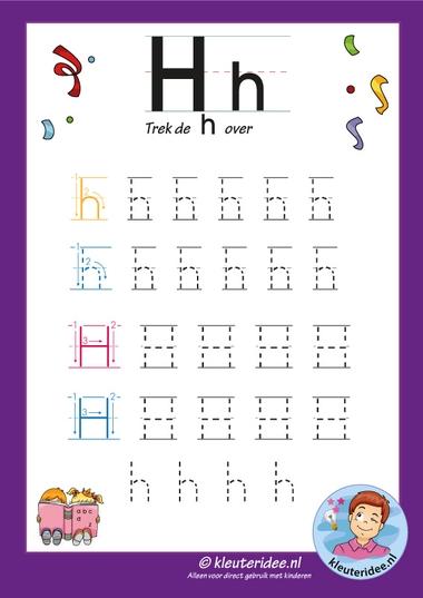 Pakket over de letter h blad 7, trek de letter h over, letters aanbieden aan kleuters, kleuteridee, free printable.
