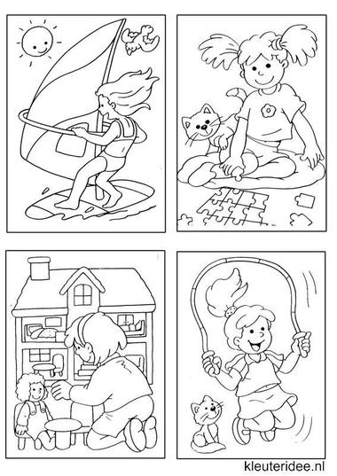 Kleine kleurplaatjes 8 voor meisjes, kleuteridee.nl , deze kleurplaatjes maken kleuters echt af ;), free printable.