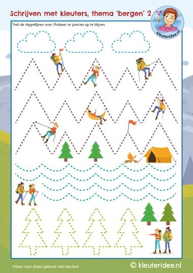 Schrijven met kleuters, thema bergen, counting rocks, mountain theme, kleuteridee