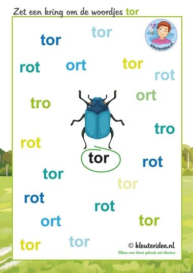 zet een kring om de woordjes tor, hema insecten voor kleuters, kleuteridee.nl, free printable.