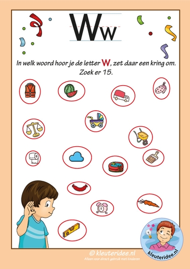 Pakket over de letter w blad 9, in welk woord hoor je een w antwoorden, letters aanbieden aan kleuters, kleuteridee, free printable k