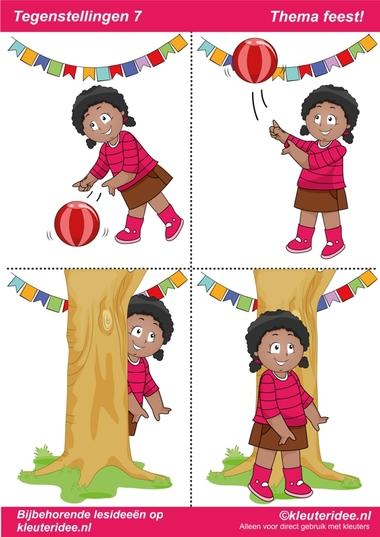 Tegenstellingen deel 7, thema feest voor kleuters, juf Petra van kleuteridee, bij behorende les op de website, preschool opposites, free printable.