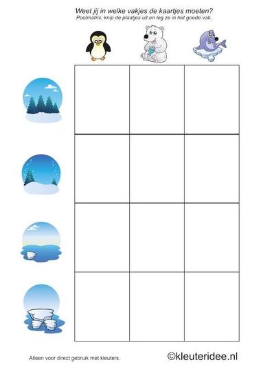 Poolmatrix voor kleuters 1, kleuteridee.nl , Arctic matrix for preschool, free printable.