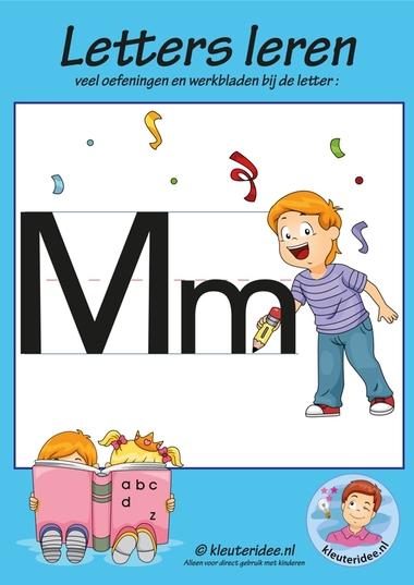 Pakket over de letter m blad 1, voorkant, letters aanbieden aan kleuters, kleuteridee.nl, free printable.