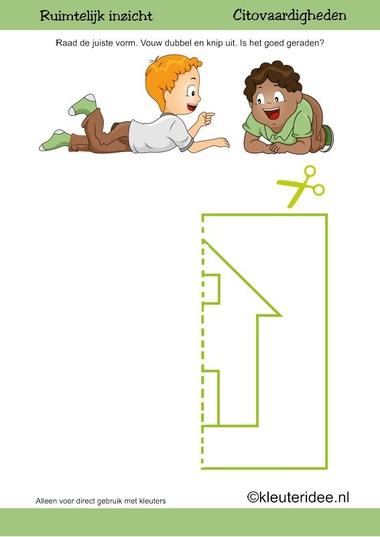 Citovaardigheden voor kleuters, kleuteridee.nl ,ruimtelijk inzicht huis 4 , rekenen voor kleuters.