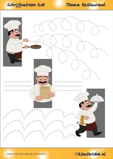 Schrijfpatroon kok voor kleuters, thema restaurant, juf Petra van kleuteridee.nl, Writing pattern, free printable..