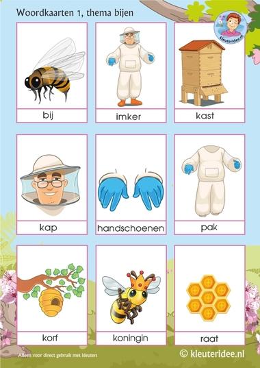 Woordkaarten voor kleuters, thema bijen 1, juf Petra van kleuteridee, Preaschool bees theme, free printable.