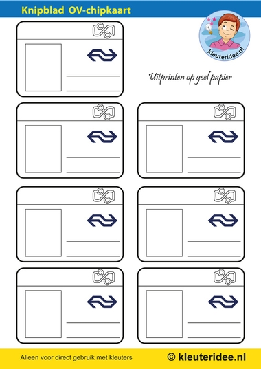 Knipblad OV-chipkaart voor kleuters 1, kleuteridee.nl, free printable.