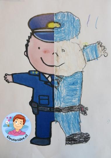Halve politieman tekenen met kleuters 1, kleuteridee.nl, thema politie