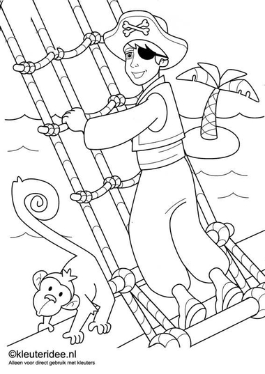 kleurplaat piraten 3, kleuteridee.nl , op de site nog veel meer piratenkleurplaten, pirates coloring free printable..